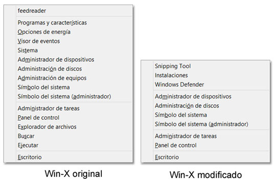 Menú Win-X de Windows 8 modificado