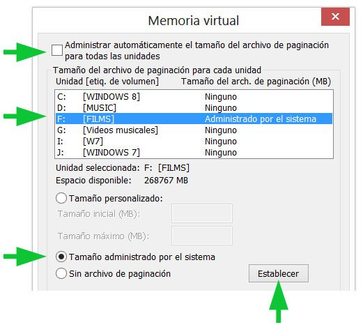 Mover el archivo de paginación en Windows 8 a otra unidad