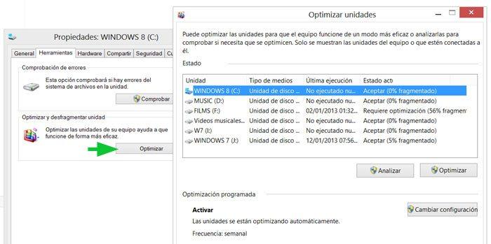 Optimizar y desfragmentar los discos duros en Windows 8