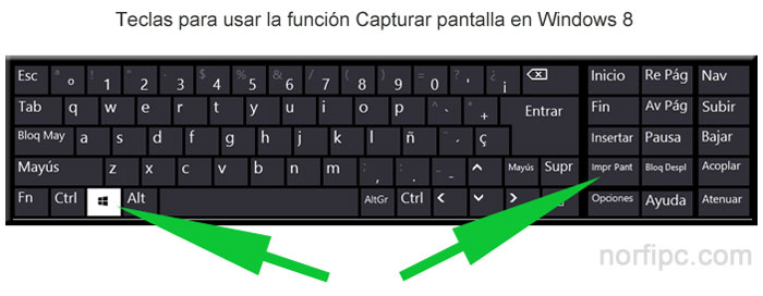 Teclas para usar la función Capturar pantalla en Windows 8